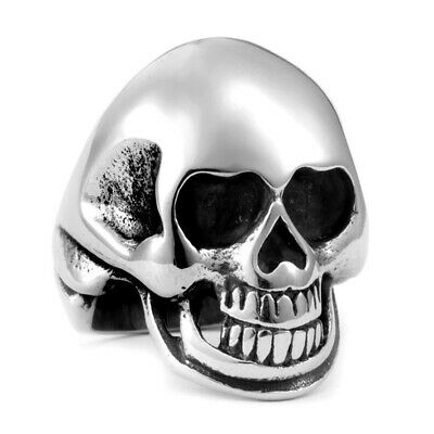 Men Fashion Punk Gothic Cool Skull Biker Ring Vintage Rock Silver Rings 7-14#