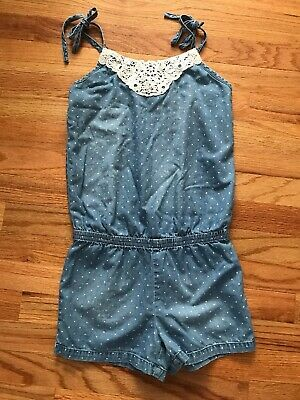 96f95b64d7b Justice Girls Size 10R Romper Polka Dot with Lace and Sequins