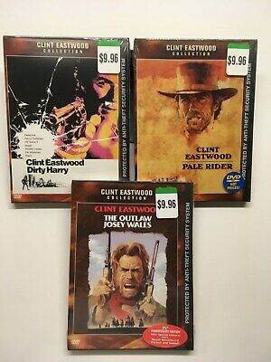 Clint Eastwood Movies 3 DVD Dirty Harry Pale Rider Outlaw Josey Wales New Sealed