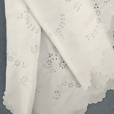 vintage hand embroidered Cutwork tablecloth Stunning Whitework