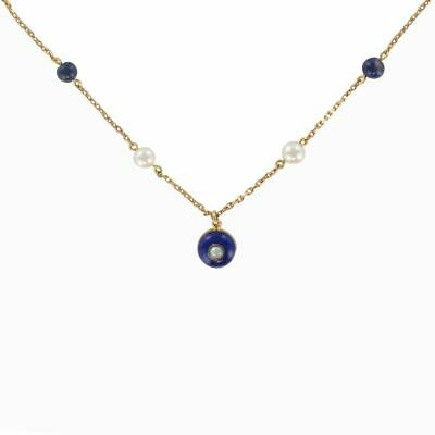 Necklace Gold, Cultured Pearls and Lapis Lazuli