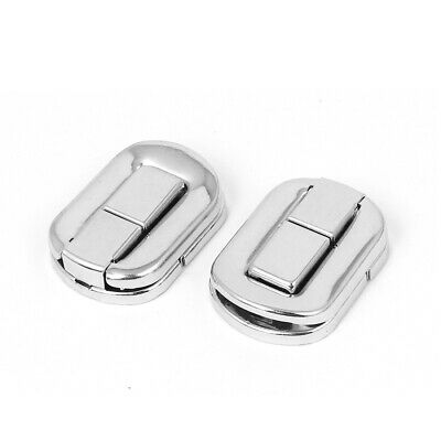 Metal Rectangle Wardrobe Box Case Toggle Latch Hasp Silver Tone 2pcs