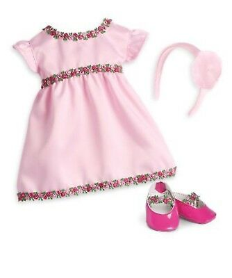 """New, American Girl Bitty Baby Pink Rose Dress, Set of 3, For 15"""" Doll Outfit"""