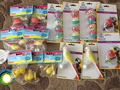 Bulk Cage  Bird Toy Collection 17 Pieces Budgie Finch Canary Cockatiel Love Bird
