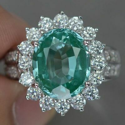 Elegant Oval Emerald Halo Wedding Ring Gorgeous 925 Silver Engagement Jewelry