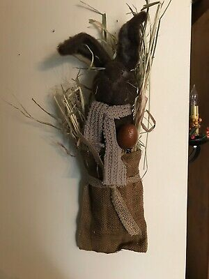 Primitive Easter Rabbit In A Burlap Bag