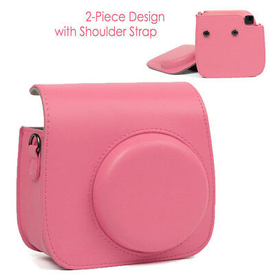 For Fujifilm Instax Mini 8 9 Instant Camera Case Pink Bag Cover Soft PU Leather