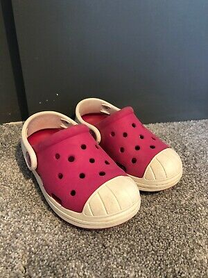 Crocs Girls Fuchsia Clogs Uk Size Junior C8 - Excellent Condition
