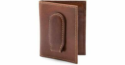 New Bosca Leather Bifold Deluxe Front Pocket Money Clip Wallet Vermont Chestnut