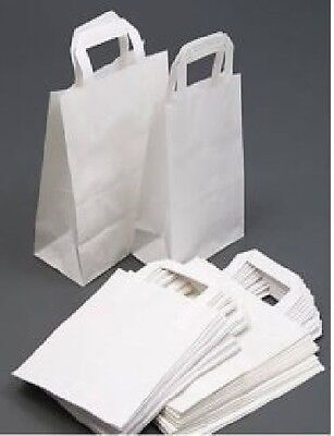 10 White Take Away Party Paper Carrier Gift Bag Small - 7 x 9 x 3.5 APPROX.