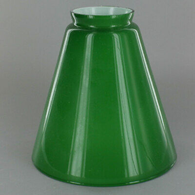 """7"""" ~ GREEN Cased Glass ~ Hanging Lamp ~ CONE SHADE  ~ 2 1/4"""" Fitter"""