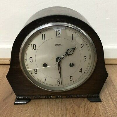 Vintage Smiths / Enfield striking mantle clock  with brass key.