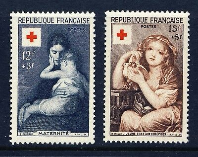 FRANCE . 1954 Red Cross (B291-292) . Very Fine! Mint Never Hinged