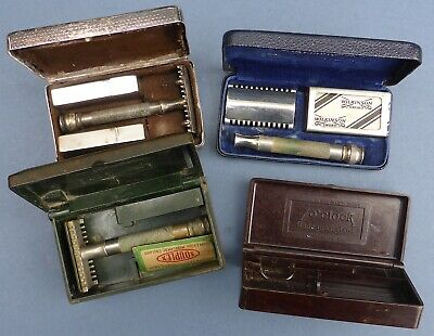3 Vintage Gillette Safety Razors in Bakelite Cases 1910-50s 7 O'Clock
