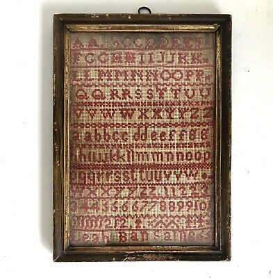 "Sampler 1865 Alphabet Signed Leah Bansall 9"" X 12"" Framed Numbers Vtg Antique"