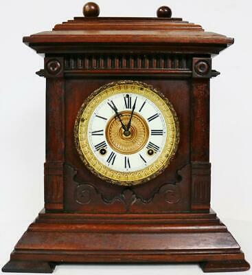Antique Ansonia Clock Company 8 Day Carved Oak Striking mantel Bracket Clock
