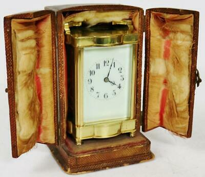 Amazing Antique French 8 Day Gong Striking Carriage Clock In Original Carry Case