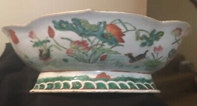 Large Antique Chinese Famille Rose Verte Ducks and Lotus Porcelain Footed Bowl