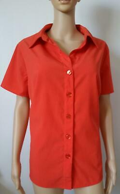 Cato Woman Blouse Size 18/20W Red Short Sleeve Top Stretch Silky Button Shirt