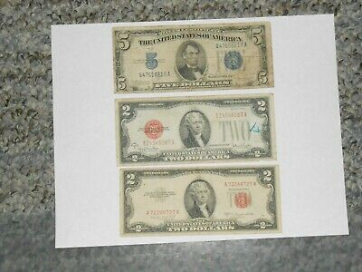 $5.00 1934 C Blue Seal Silver Certificate $2 1953 B $2.00 1928 G Red Seal Notes