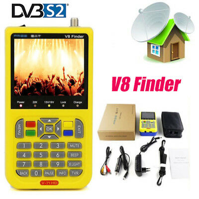 "Digital V8 DVB-S2 High Definition TV Satellite Finder MPEG-4/2 3.5"" LCD Display"