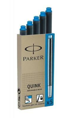 Geniune Parker Quink Ink Fountain Pen Cartridges Washable Blue Ink 5 Refills