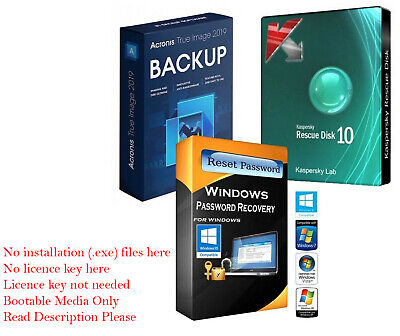 Acronis 2019 True Image & Kaspersky Rescue & Password Remover on 2GB Flash Drive