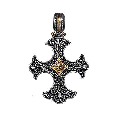 Gerochristo 5422N ~ Solid Gold & Sterling Silver Medieval-Gothic Cross Pendant