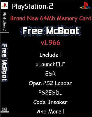 Free McBoot FMCB 1.966 Sony PlayStation 2 PS2 64 Mo Memory Card opl mc boot esr