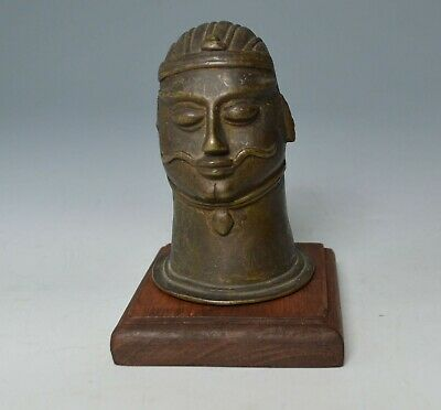 Antique Indian bronze alloy head from a Shiva lingam.