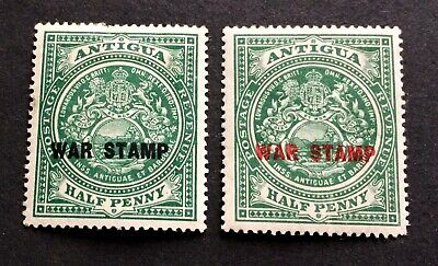 TOP QUALITY STAMPS - Antigua 1916/17 - 2 old unused war stamps Half Penny
