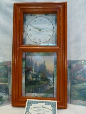 Thomas Kinkade Stained Glass Wall Clock w/Time For All Seasons Tiles w/coa $250