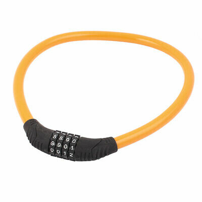 Bike Bicycle 11mm Steel Wire Cable 4 Digit Combination Password Lock Yellow