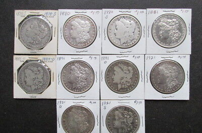Morgan Silver Dollar Lot of 10 coins Mixed Dates 1878-S to 1921-S. Item # 70