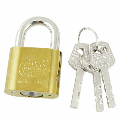 30mm Security Door Drawer Cabinet Gold Tone Metal Padlock Lock w Key
