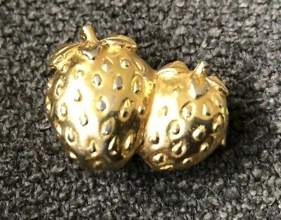 Vintage Dotty Smith Strawberries Belt Buckle Gold Tone