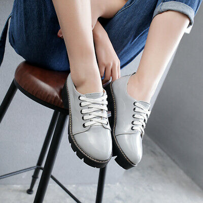 British Ladies Lace Up Cuban Heels Patent Leather Preppy Chic Girls Casual Shoes