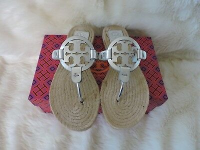 bbca6385ba8d Nib Tory Burch Miller Espadrille Sandal Thong Mirror Metallic Leather Logo  8.5