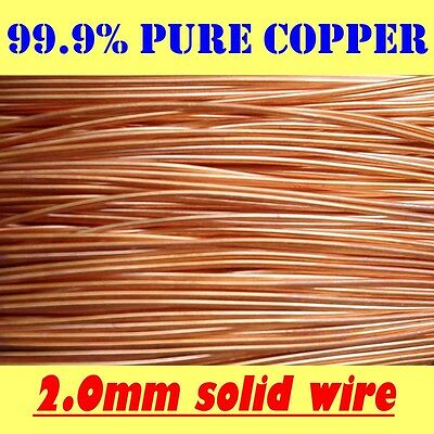10 MT 99.9% PURE SOLID UNCOATED COPPER WIRE, 2mm dia. = 14G SWG = 12G AWG