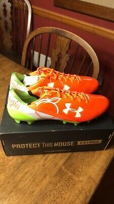 29d57622dcbc Under Armour UA Spotlight LE Football Lacrosse Cleats Size 13 Georgia Peach  New