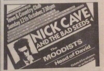 Nick Cave & Bad Seeds - Original Gig Advert Clipping - Town & Country - 12/10/86