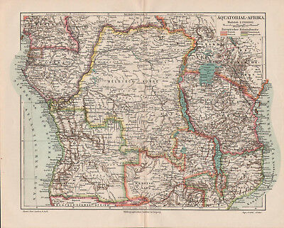 Antique map. AFRICA. EQUATORIAL AFRICA. c 1905