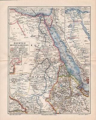 Antique map. AFRICA. EGYPT. DARFUR. ABISSINIA. ETHIOPIA. 1905