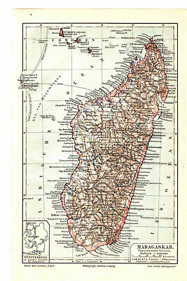 Antique map. AFRICA. MADAGASCAR. 1905