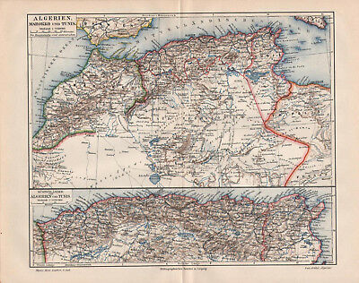 Antique map. AFRICA. ALGERIA. MOROCCO. TUNISIA. 1905