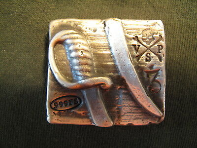VOLLMER POURED SILVER - Three Troy Oz. .999 Fine Hand Poured Silver Bar. No. 4/5