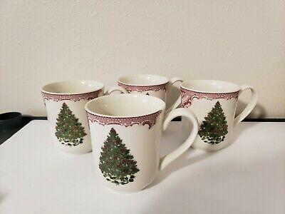 Johnson Brothers OLD BRITAIN CASTLES PINK CHRISTMAS Set of 4