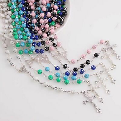 Vintage Charm Rosary Beads Chain Jesus Cross Necklace Virgin Mary Pendant