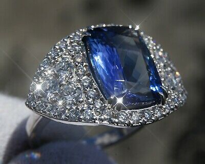Tanzanite Estate Ring White Gold 14K Diamond 5.64CT GIA Certified Natural Real