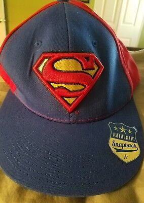 185ea8c190437 DC COMICS SUPERMAN Embroidered Logo Snapback Ball Cap Hat Blue  Red ...